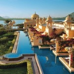 The Oberoi Udaivilas pool on the shore of Lake Pichola in Udaipur, India