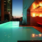 The rooftop pool at the Standard in Los Angeles, California